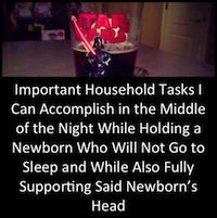 Important Household Tasks I Can Accomplish in the Middle of the Night While Holding a Newborn Who Will Not Go to Sleep and While Also Fully Supporting Said Newborn's Head: A Non-Exhaustive List